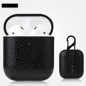 Bluetooth Wireless Airpods Snake Leather Case - Black