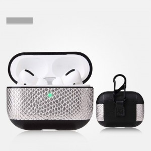 Snake Leather Bluetooth Case For Airpods Pro - Silver
