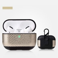Snake Leather Bluetooth Case For Airpods Pro - Golden