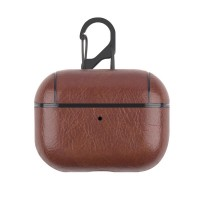 Leather Bluetooth Earpphone Case For Airpods Pro - Dark Brown