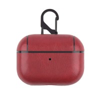 Leather Bluetooth Earpphone Case For Airpods Pro - Wine Red