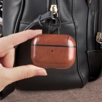 Leather Bluetooth Earpphone Case For Airpods Pro - Light Brown