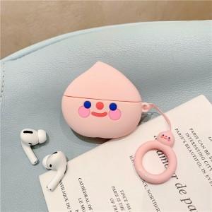 Bluetooth Ear Pod Peach Design Silicone Case Cover - Pink