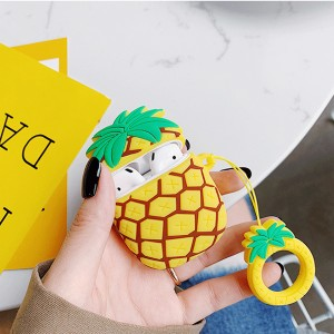 Pineapple Design Protective Silicone Case Cover For Airpods - Multi Color