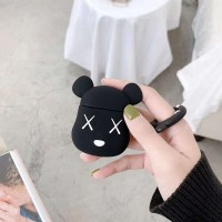 Violent Bear Design Silicone Case Cover For Bluetooth Airpods - Black