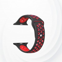 Silicone Bracelet Strap For Apple Watch 42 To 44 mm - Black Red