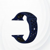 Silicone Bracelet Strap For Apple Watch 42 To 44 mm - Black Blue