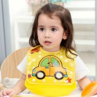 Detachable Waterproof Baby Rice Pocket Bib - Yellow