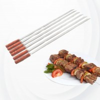 6 Pcs Strong Barbeque Stainless Steel Skewers - Silver