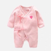 Baby Pure Color Cotton Romper - Pink