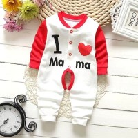Long Sleeve Cute Baby Cotton Jumpsuit - Red