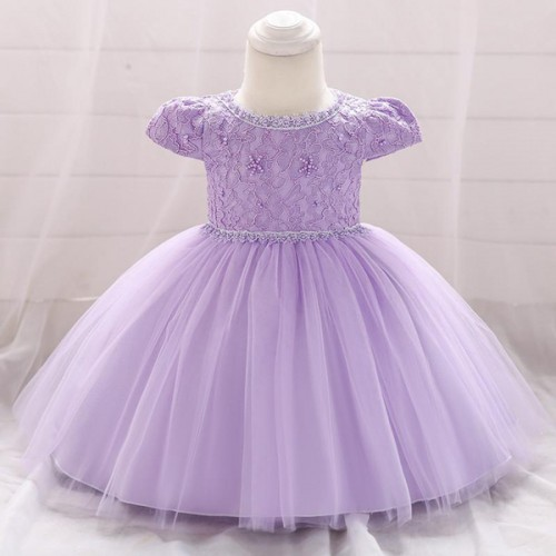 Kids Wear Floral Embroidered Party Dress - Purple