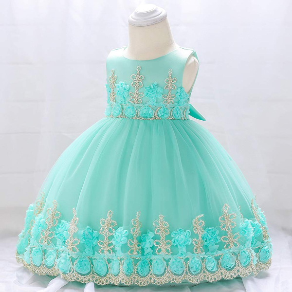 Kids Wear Floral Embroidered Party Dress - Sky Blue