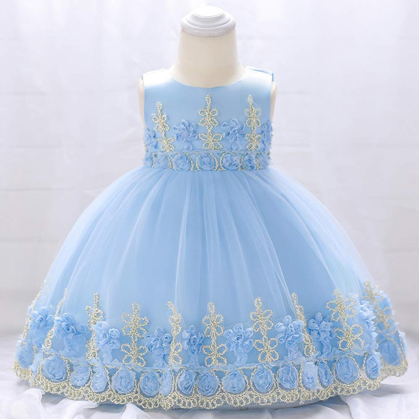 Kids Wear Floral Embroidered Party Dress - Light Blue