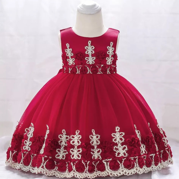 Kids Wear Floral Embroidered Party Dress - Red