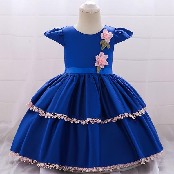 Kids Wear Floral Printed Party Dress - Blue