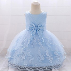 Kids Wear Floral Printed Party Dress - Light Blue