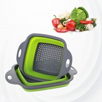 2 In 1 Kitchen Collapsible Fruit Vegetable Drainer Basket - Green