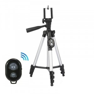 Mobile And DSLR Tripod Stand With Bluetooth Remote - Silver