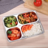 Stainless Steel 4 Section Divided Dinner Tray With Cover - Silver