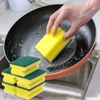8 Pcs Dish Wash Cleaning Colored Sponge Scouring Pad - Yellow