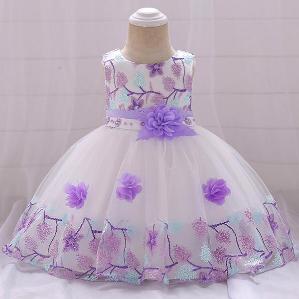 Kids Wear Floral Printed Party Dress - Multi Color