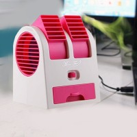 Mini Portable Desktop Dual Bladeless Usb Cooling Fan - Blue
