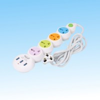 Universal Extension Power Socket With 3 Usb Ports - Multi Color