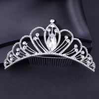 Crystal Rhinestone Princess Crownhair Comb - Silver