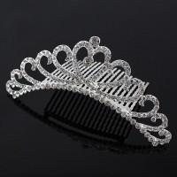 Girls Rhinestone Princess Crownhair Hair Clips - Silver