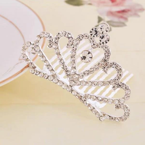 Girls Crystal Princess Crownhair Hair Clips - Silver