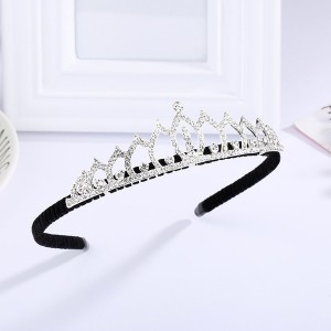 Girls Rhinestone Princess Crownhair Headband - Silver