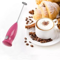 Mini Hand Held Coffee Milk Frother Maker - Pink