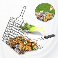 Stainless Steel Wooden Handle Barbecue Fish Meat Grill - Silver