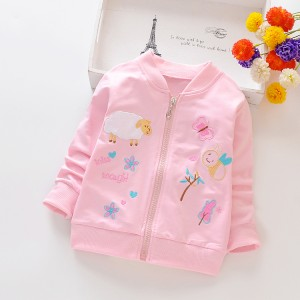 Girls' Coat Cartoon Long Sleeves  Jacket - Light Pink