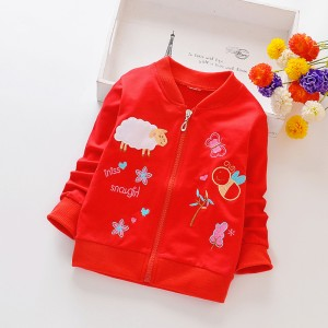 Girls' Coat Cartoon Long Sleeves  Jacket - Red