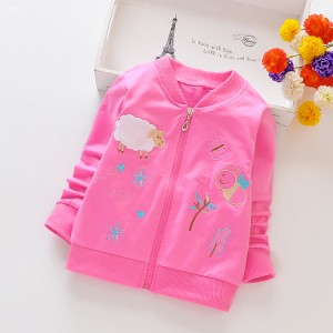Girls' Coat Cartoon Long Sleeves  Jacket - Rose