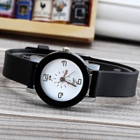 Silicone Strapped Girls Fashion Watch - Black