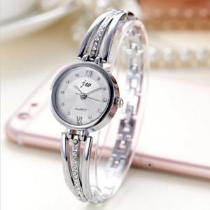 Women's Rhinestone Round Dial Steel Band Watch - Silver