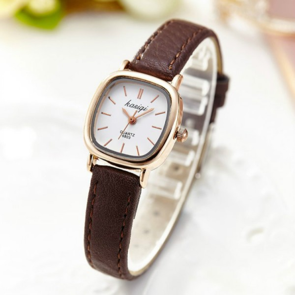 Fashion Small Dial Lady High-end Quartz Watch - Coffee
