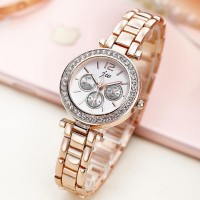 Women's Rhinestone Dial Quartz Watch - Golden