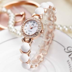 Girls Imitation Large Pearl Quartz Watch - Golden