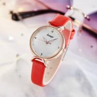 Girl Fashion Snake Skin Design Belt Watch - Red