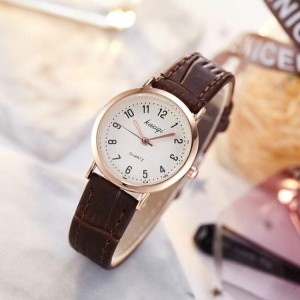 Ladies Belt Ultra-thin Electronic Leisure Quartz Watch - Coffee