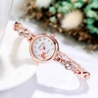 Women Fashion Steel Band Bracelet Electronic Watch - Golden