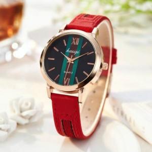 Ladies Fashion Wild Belt Watch - Red