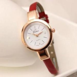 Ladies Fashion Strap Leather Quartz Watch - Red
