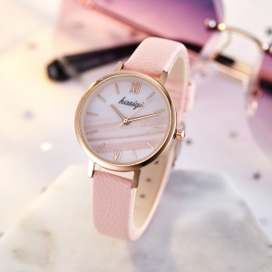Ladies Unique Striped Dial Student Fashion Watch - Pink