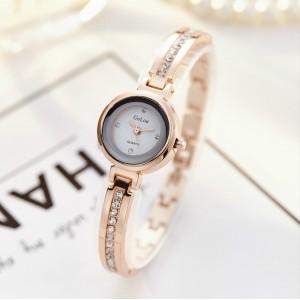 Women Thin Strap Small Dial Bracelet Watch - Golden