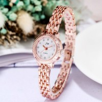 Women Steel Band Bracelet Quartz Watch - Golden